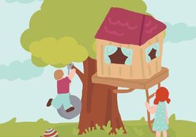 Pojke och flicka med sin Treehouse Vector