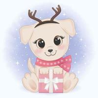Welpe mit Geschenkweihnachtsaquarellartentwurf