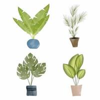 handmålade tropiska akvarellväxter i krukor vektor