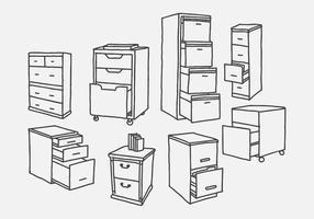 Handritad arkivskåp vektorer