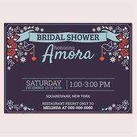 bröllop dusch inbjudan kort mall vektor