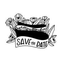 Speichern Sie das Datum Gekritzel mit Blättern, Blumen und Ornamenten vektor