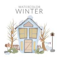 Winterlandschaft mit Haus und Baum handgemalten Stil vektor