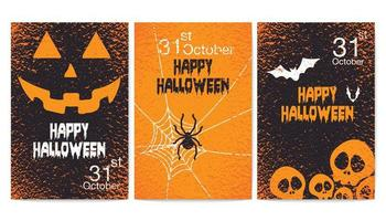 glad halloween grunge part affisch set vektor