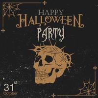 Halloween vintage grunge inbjudan med skalle vektor
