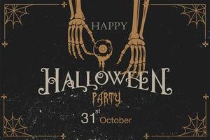 halloween vintage grunge inbjudan med skelett händer vektor