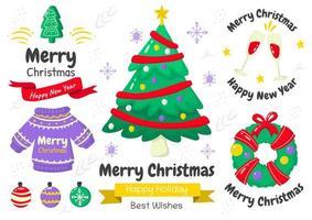 Karikaturartweihnachtselement und Emblemsatz