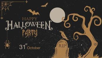 Halloween vintage grungeinbjudan med kyrkogårdstema vektor