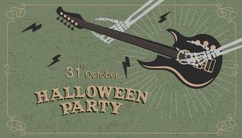 halloween fest affisch med skelett händer spelar gitarr vektor