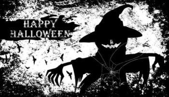 halloween grunge design med läskig fågelskrämma vektor