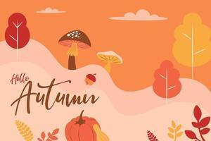 Hallo Herbst rustikaler Pilz, Kürbis, Laublandschaft vektor