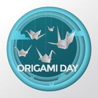 Herde von Origami-Vögeln, die an einem Faden hängen vektor