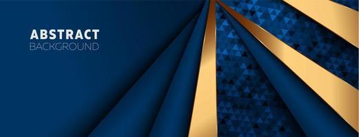blå och guld vinklade lager banner design med trianglar