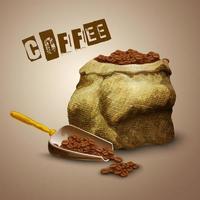 realistische Kaffeebohnen in einem Sack vektor