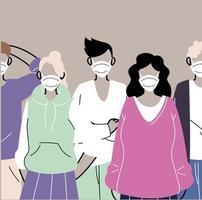 grupp människor i skyddande medicinska ansiktsmasker