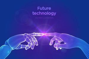 Roboter und menschliche Hände berühren sich für zukünftige Technologie