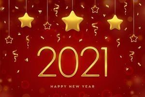goldener Text des neuen Jahres und hängende Sterne