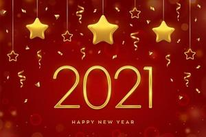 nyårsgyllene text och hängande stjärnor vektor