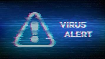 banner med virusvarning och glitched uppmärksamhetssymbol