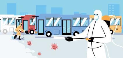 servicebuss covid 19 desinfektion vektor