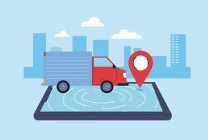 Lieferwagen befördert die Lieferung an Menschen