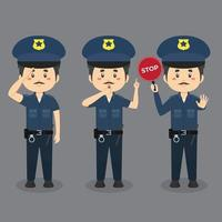 männliche Polizeifiguren, die verschiedene Aktivitäten ausführen vektor
