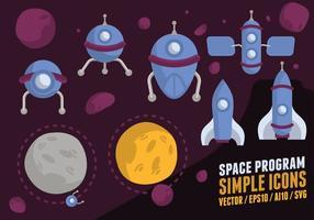 Raumfahrtprogramm Icons vektor