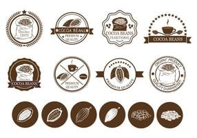 Kakaobohnen und Kaffee-Label-Vektoren