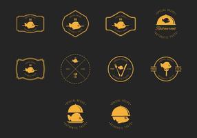 Fish Fry emblem och Label Vector Set