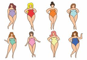 Enkel Kvinna Plus Size ikoner vektor