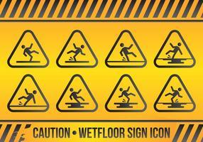 Wet Floor Sign Icon Set vektor