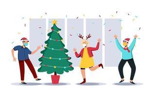 njuter av jul med nytt normalt protokoll vektor