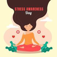 Frauen meditieren, um Stress abzubauen vektor