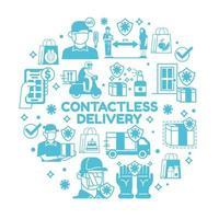kontaktlös leverans Ikonuppsättning vektor
