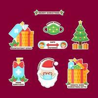 färgglad jul fest med protokoll klistermärke samling vektor