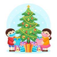 Kinder tauschen Weihnachtsgeschenke mit neuem normalen Protokoll aus vektor