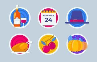 Neon Thanksgiving Icon Sammlung