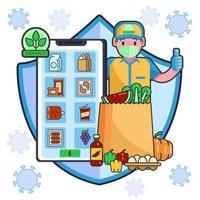 Online-Lieferung von Lebensmitteln mit Schutz des Covid-19-Protokolls