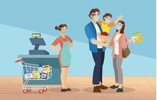 Lebensmitteleinkauf für Familien im Supermarkt vektor