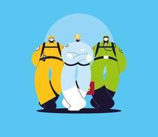 Männer in Schutzanzügen, Sicherheitskleidung