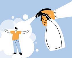 Hand mit Sprühflasche, Coronavirus reinigen und desinfizieren