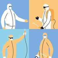 Teamwork tragen Schutzanzug, Desinfektion durch Coronavirus