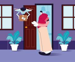 drönare bär shoppinglådan till dörren