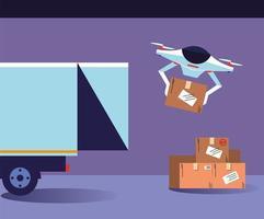 Drohne trägt Kisten vom Lieferwagen