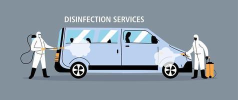 Desinfektion von Servicewagen durch Coronavirus oder Covid 19 vektor