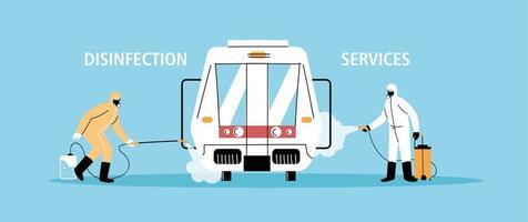 service tunnelbanedesinfektion med coronavirus eller covid 19 vektor