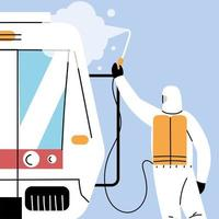 Service-U-Bahn-Desinfektion durch Coronavirus oder Covid 19 vektor
