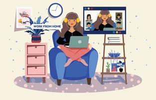 Treffen bei der Arbeit von zu Hause aus vektor