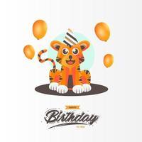 söt tiger födelsedagskort