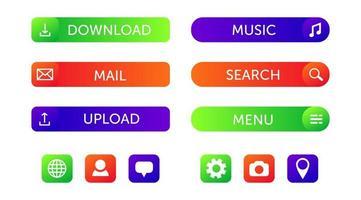 färgglada webbdesign knappsamling